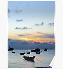 Fishing boats at sunset, Hang Dua bay, Vung Tau, Vietnam Poster
