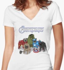 The Pugvengers Women's Fitted V-Neck T-Shirt