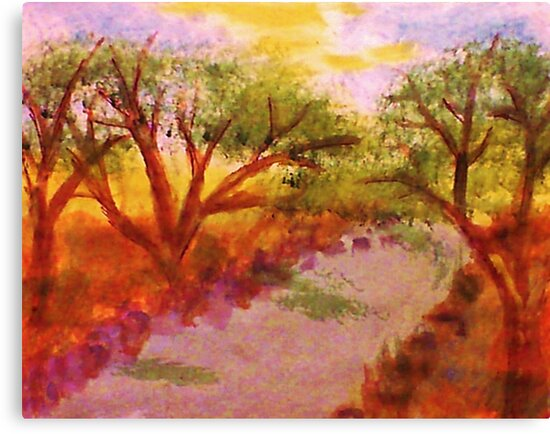 Enjoying summer by the water and trees, watercolor by Anna  Lewis, blind artist