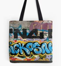 Abstract Graffiti on the grunge textured Brick Wall Tote Bag
