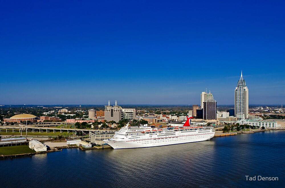 Mobile Alabama Skyline With Cruise Ship By Tad Denson Redbubble - Cruise ship mobile alabama