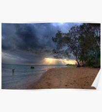 Sunset at Hervey Bay beach Poster
