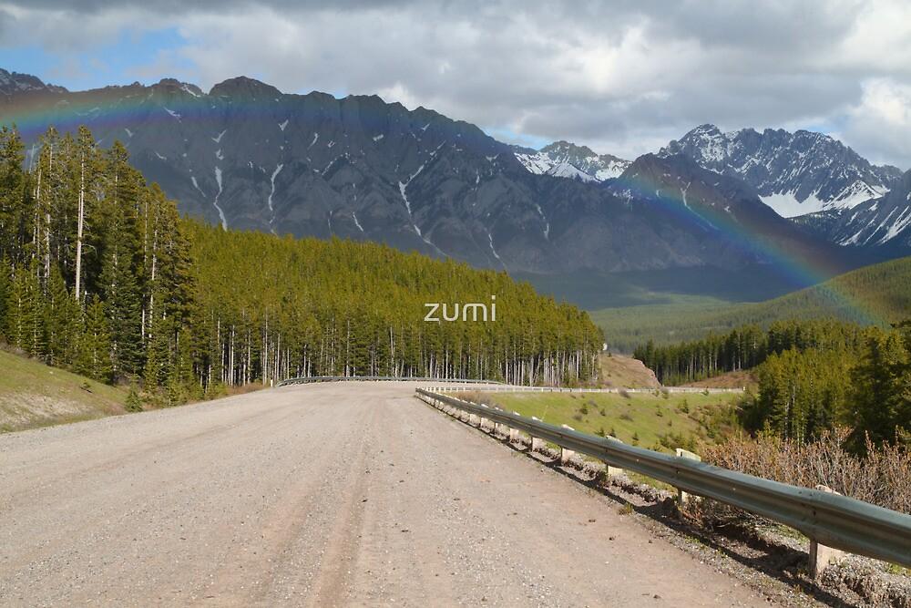 Rainbow above road by zumi