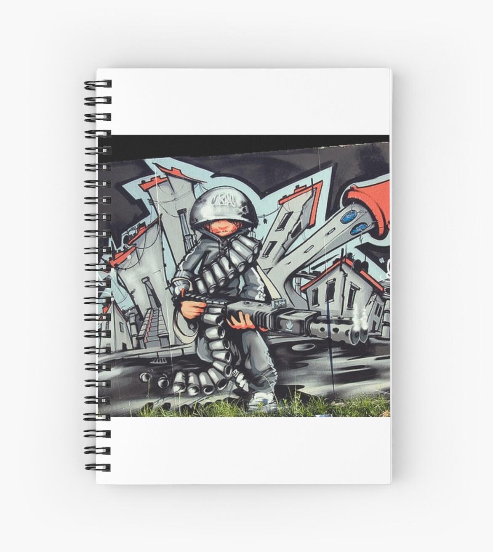 Graffiti Soldier Spiral Notebooks By Bizzleapparel Redbubble