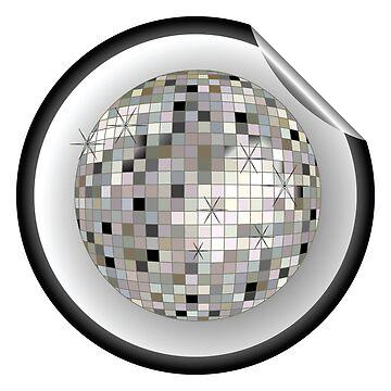 Disco ball black sticker by robertosch