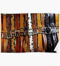 Leather belts for sale. Poster