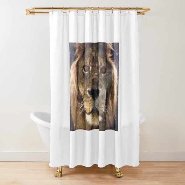 Lion in the Snow Shower Curtain