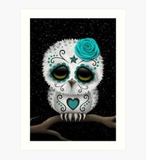 Cute Teal Blue Day of the Dead Sugar Skull Owl Art Print