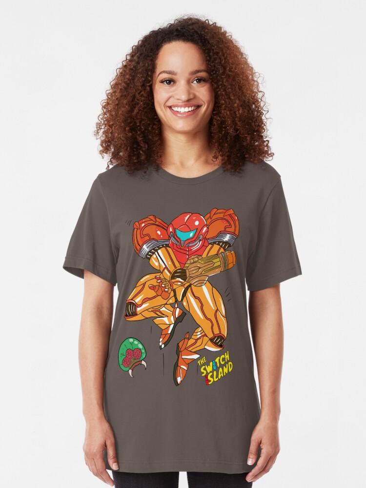 Alternate view of Samus On The Switch Island Slim Fit T-Shirt