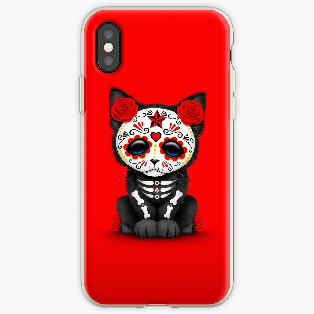 Cute Red Day of the Dead Kitten Cat iPhone Case & Cover