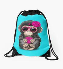 Pink Day of the Dead Sugar Skull Baby Chimp Drawstring Bag