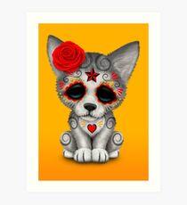 Red Day of the Dead Sugar Skull Wolf Cub Art Print