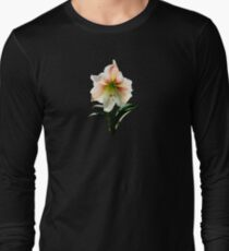 White Lily With Red Stripes Long Sleeve T-Shirt