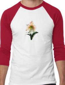 White Lily With Red Stripes Men's Baseball ¾ T-Shirt