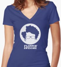 Flippin' Awesome Women's Fitted V-Neck T-Shirt