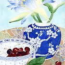 waterlilies, ginger jar and cherries by Gabby Malpas