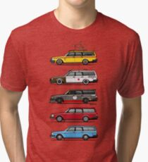 Stack of Volvo 200 Series 245 Wagons Tri-blend T-Shirt