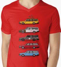Stack of Volvo 200 Series 245 Wagons Men's V-Neck T-Shirt
