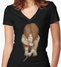 Alone - Sepia Women's Fitted V-Neck T-Shirt