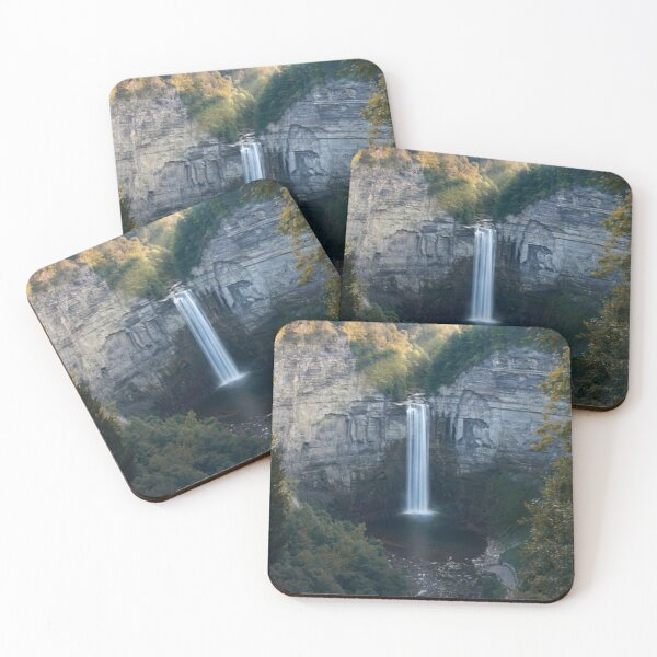 Heart Waterfall with Afternoon Sun Coasters (Set of 4)