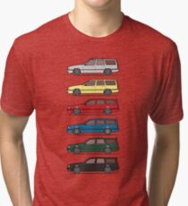 A Stack of Volvo 850 V70 T5 Swedish Turbo Wagons Tri-blend T-Shirt
