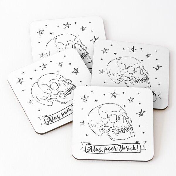 Alas, poor Yorick! Hamlet Shakespeare quote Coasters (Set of 4)