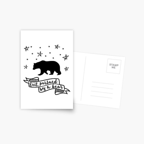 'Exit, pursued by a bear' - A Winter's Tale Shakespeare quote Postcard