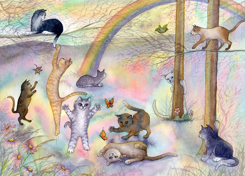 Kitties wait for their humans at Rainbow Bridge by SusanAlisonArt