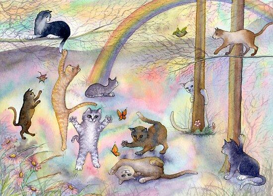 Kitties wait for their humans at Rainbow Bridge by SusanAlisonArt