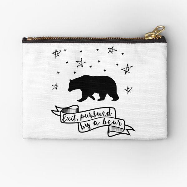 'Exit, pursued by a bear' - A Winter's Tale Shakespeare quote Zipper Pouch