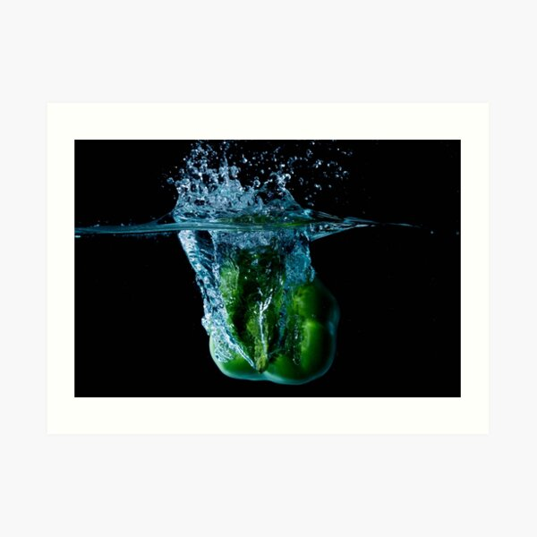 Green Bell Sweet Pepper Dropped Into Water Art Print