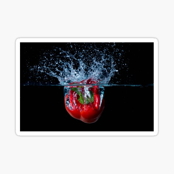 Red Bell Sweet Pepper Dropped Into Water Sticker