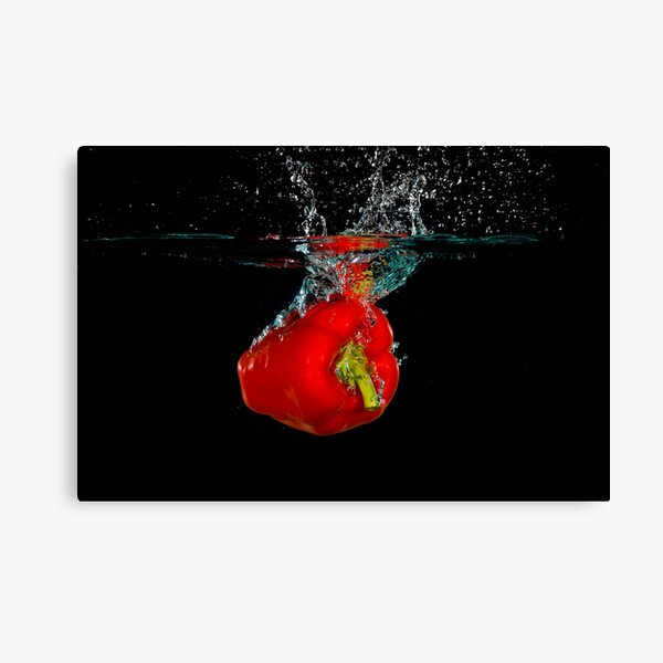 Red Bell Sweet Pepper Dropped Into Water Canvas Print