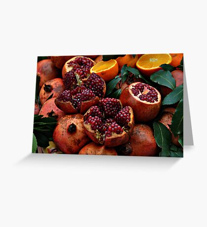 Pomengranates and oranges Greeting Card