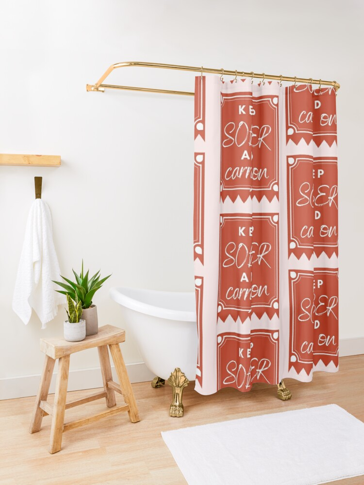 Alternate view of ANSY: Keep Sober and Carry On (in red) Shower Curtain