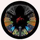 Dallas Circular Cityscape Mirror Image- Circular Skyline of Dallas Texas Iconic Featured Mirrored by Warren Paul Harris