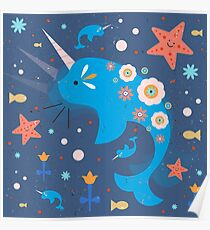 Narwhal & Babies Poster