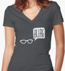 White Blerg Women's Fitted V-Neck T-Shirt