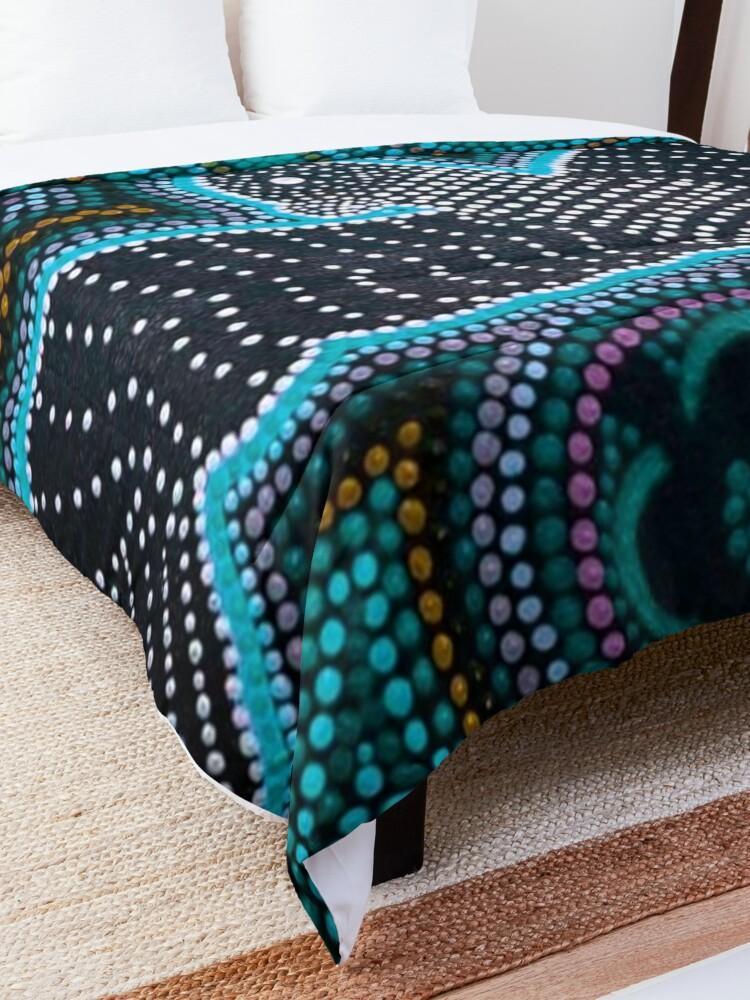Alternate view of Black cockatoo- blue dreaming  Comforter