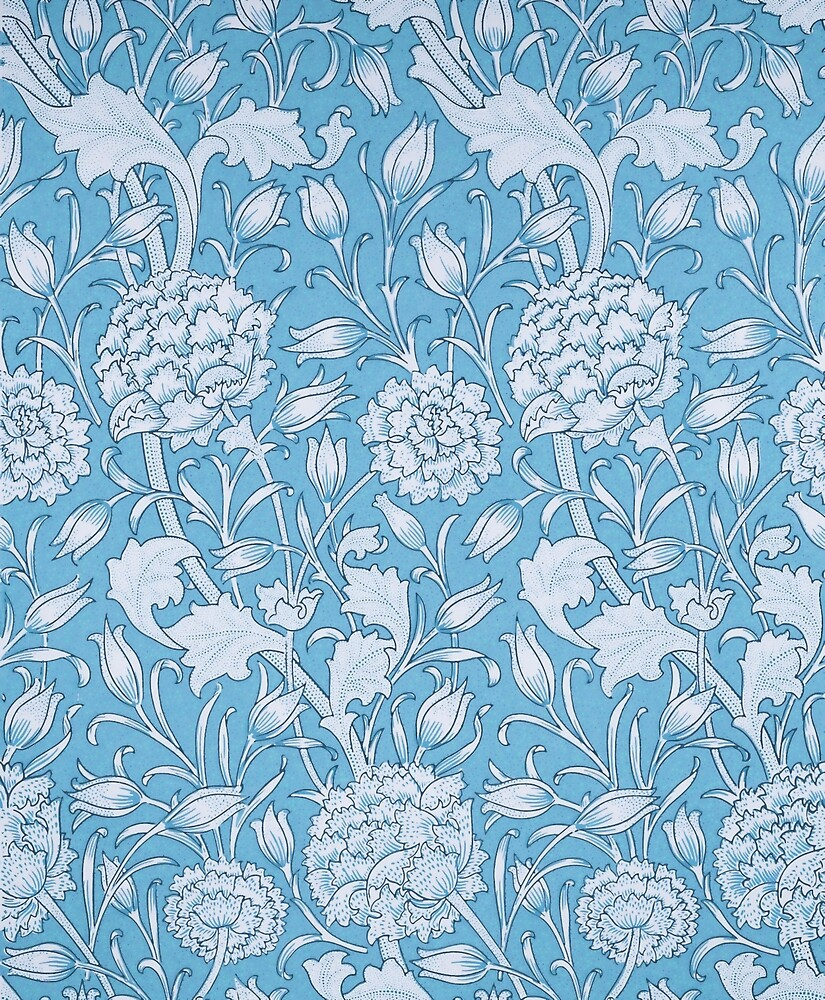 William Morris Blue Vintage Floral Wallpaper Pattern By Vicky