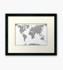Sketchy Map of the World Framed Print