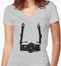 Vintage 35mm SLR Camera Pentax MX  Women's Fitted V-Neck T-Shirt