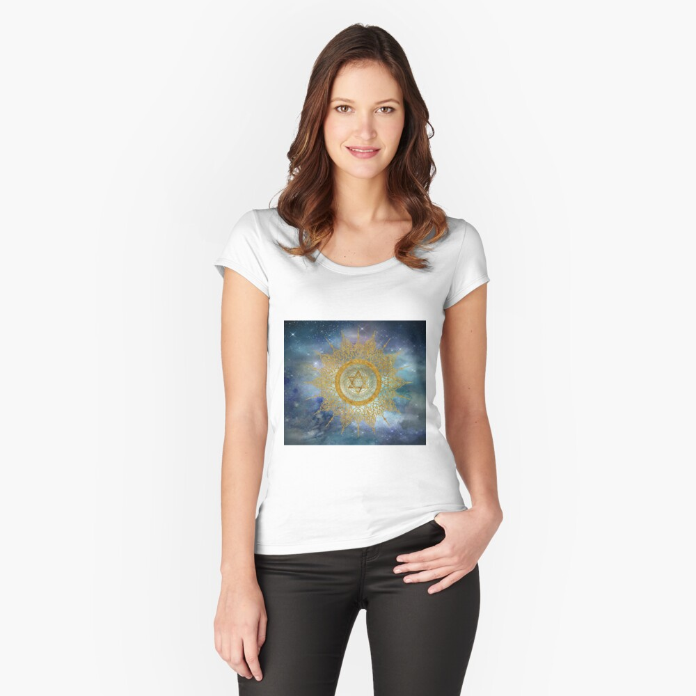 YHVH Gold Mandala Fitted Scoop T-Shirt