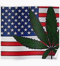 Americana Cannabis Flag Poster