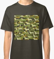Distressed Camo Dachshund Silhouettes  Classic T-Shirt