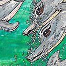 Friendly Dolphin Pod by kewzoo