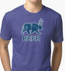 Vintage Beer Bear Deer Tri-blend T-Shirt