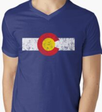 Vintage Colorado Flag Men's V-Neck T-Shirt
