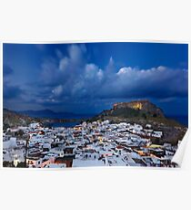 Night falling in Lindos - Rhodes island Poster
