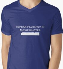 I Speak Fluently in Movie Quotes (White) Mens V-Neck T-Shirt